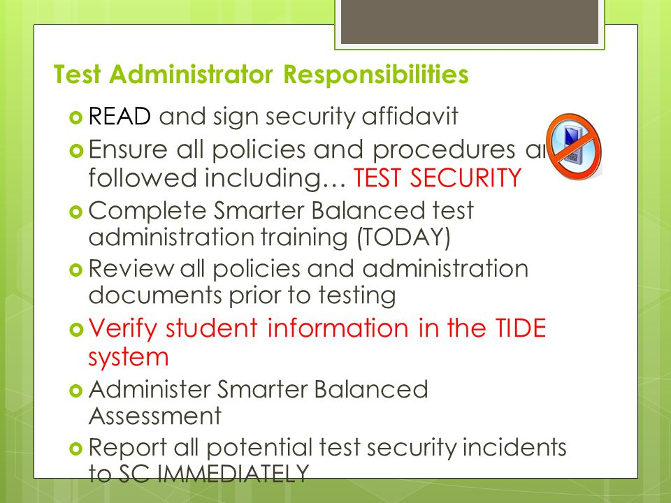 California Standards Test (CST) Students with IEP or 504 Plan may use variations/accommodations/modifications if decided by IEP Team (MATRIX forthcoming) Accommodations and Modifications must be written in IEP or 504 Students in Grades 5, 8, 10 (SCIENCE)
