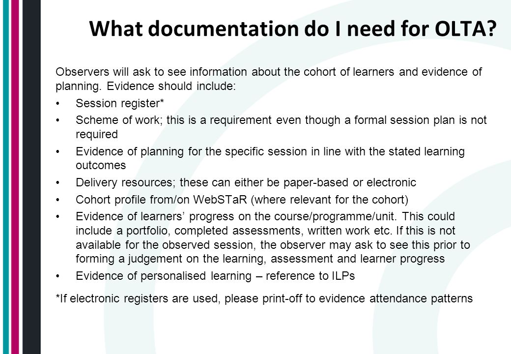 What documentation do I need for OLTA.