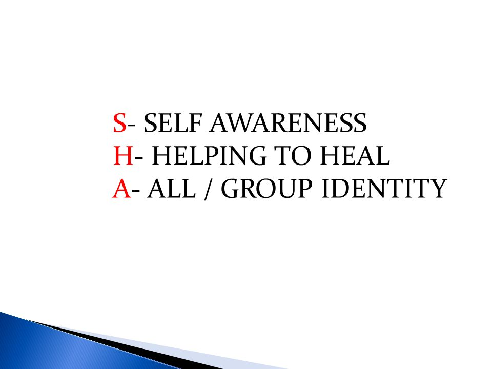 S- SELF AWARENESS H- HELPING TO HEAL A- ALL / GROUP IDENTITY