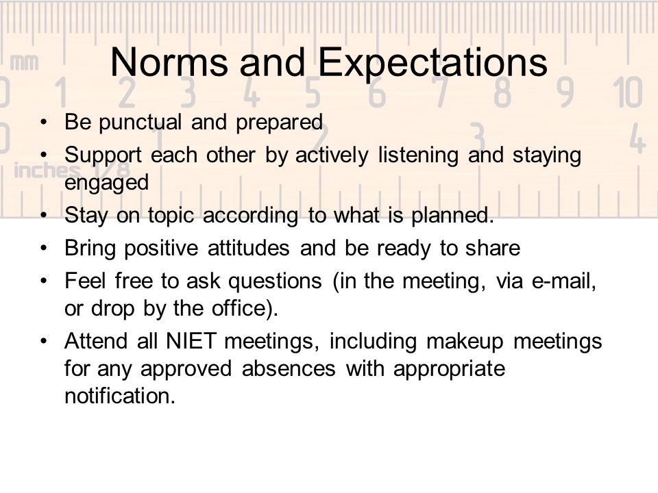 Norms and Expectations Be punctual and prepared Support each other by actively listening and staying engaged Stay on topic according to what is planned.