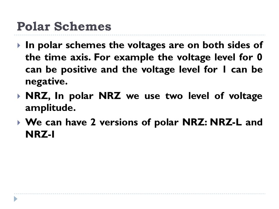Polar Schemes  In polar schemes the voltages are on both sides of the time axis. For example the voltage level for 0 can be positive and the voltage