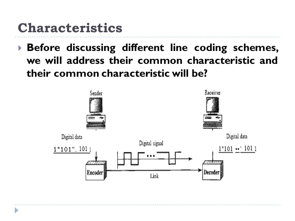 Characteristics  Before discussing different line coding schemes, we will address their common characteristic and their common characteristic will be