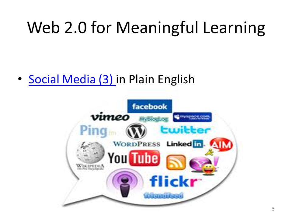 Web 2.0 for Meaningful Learning Social Media (3) in Plain English Social Media (3) Multimedia E-Content 12.10.125