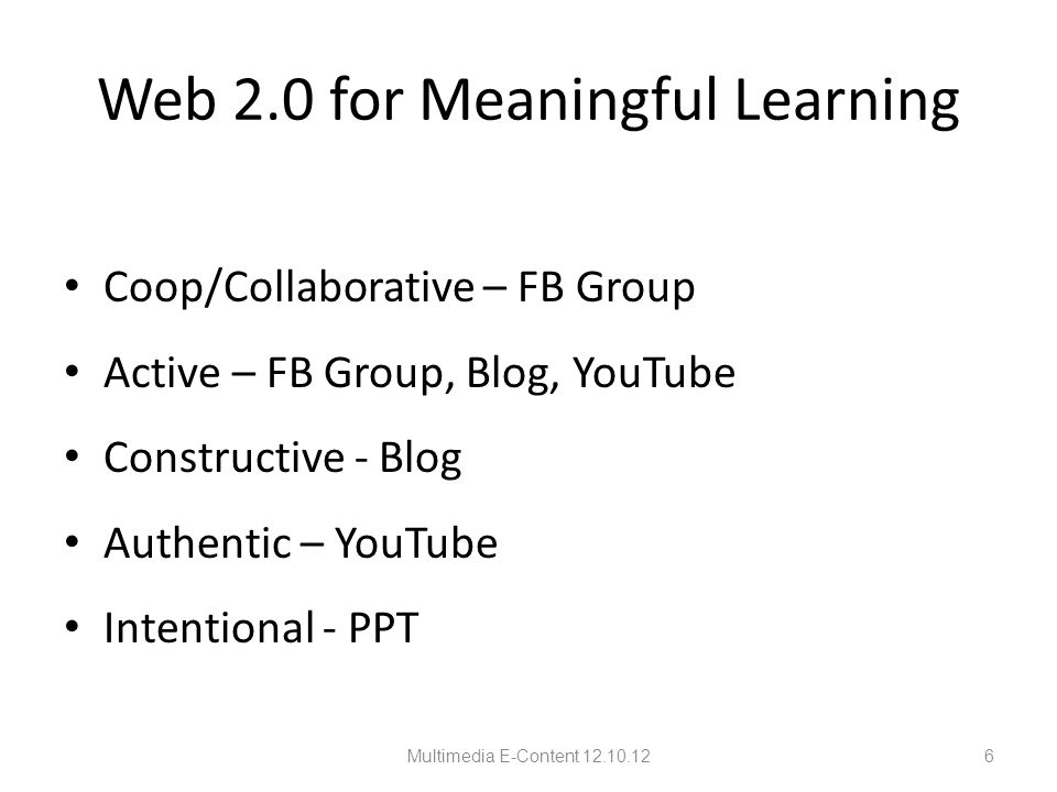 Alternative MM via Web 2.0 Applications Multimedia E-Content 12.10.1257