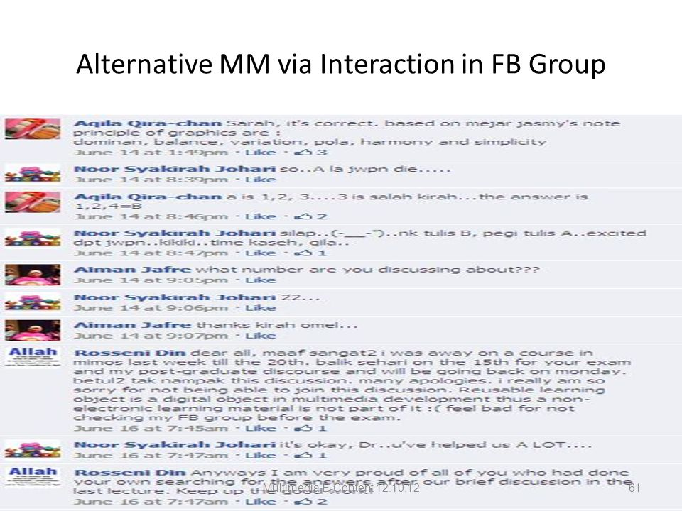Alternative MM via Interaction in FB Group Multimedia E-Content 12.10.1261