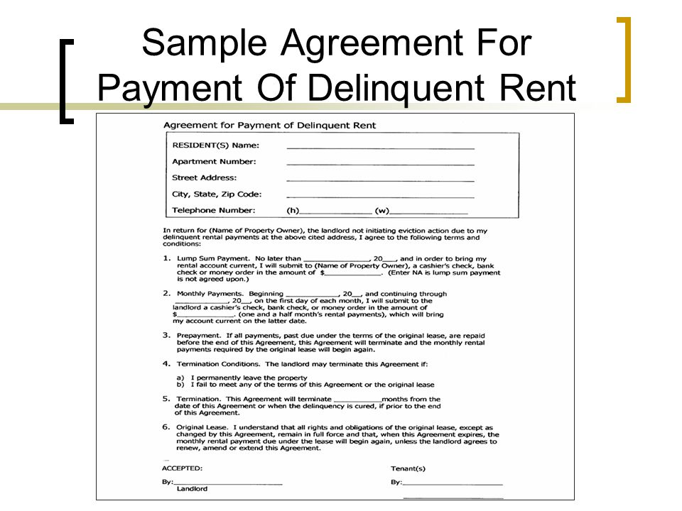 Sample Agreement For Payment Of Delinquent Rent