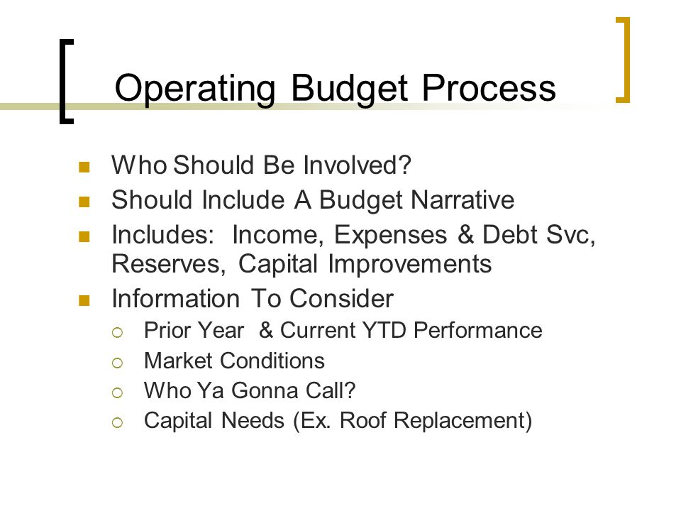 Operating Budget Process Who Should Be Involved.
