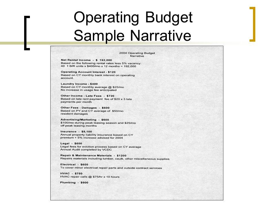 Operating Budget Sample Narrative