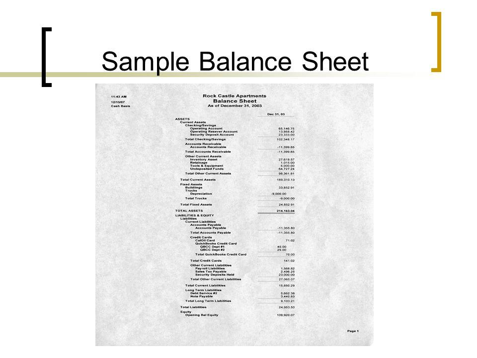 Sample Balance Sheet