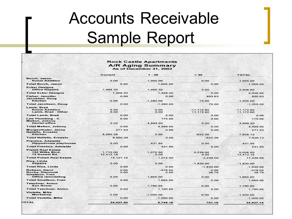 Accounts Receivable Sample Report