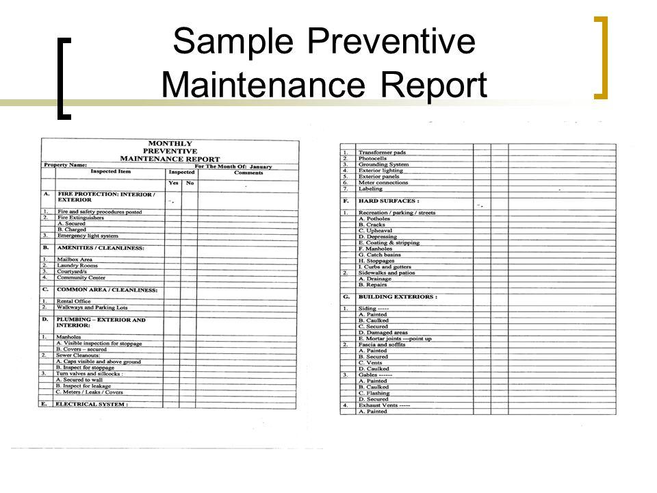 Sample Preventive Maintenance Report