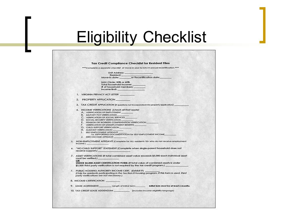 Eligibility Checklist