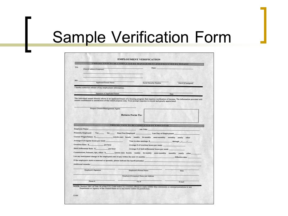 Sample Verification Form