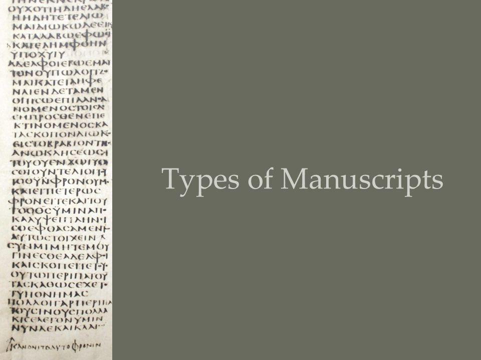 Types of Manuscripts