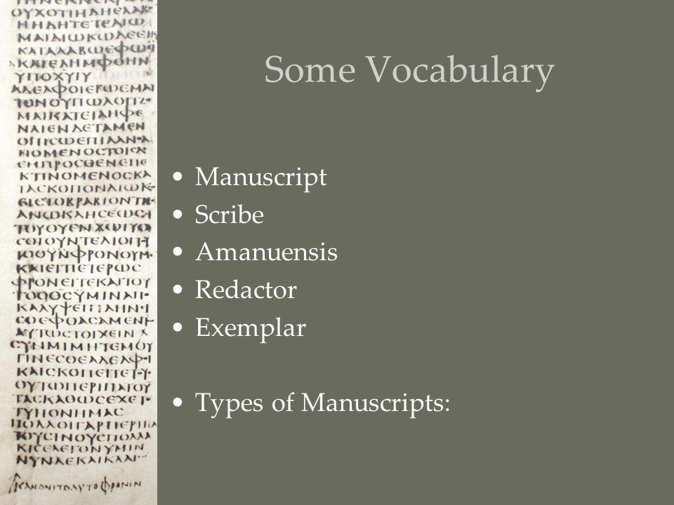 Some Vocabulary Manuscript Scribe Amanuensis Redactor Exemplar Types of Manuscripts: