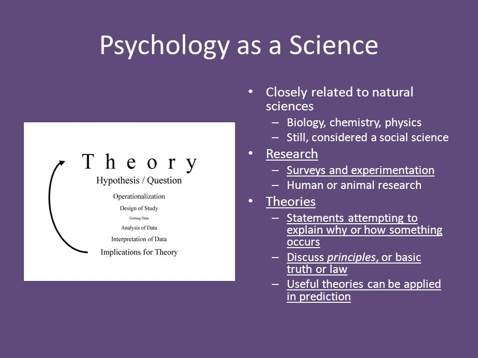 Psychology as a Science Closely related to natural sciences – Biology, chemistry, physics – Still, considered a social science Research – Surveys and