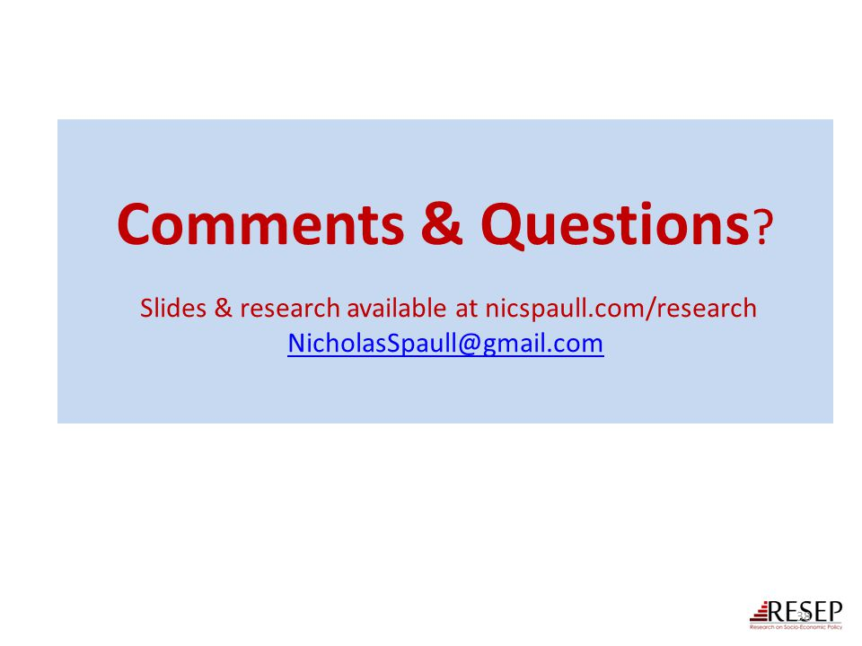 Comments & Questions ? Slides & research available at nicspaull.com/research NicholasSpaull@gmail.com NicholasSpaull@gmail.com 38