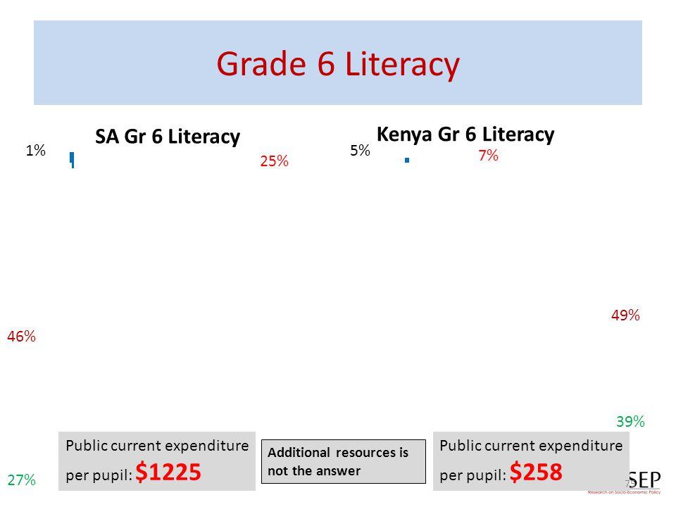 Grade 6 Literacy SA Gr 6 Literacy Kenya Gr 6 Literacy 25% 7% 5%1% 46% 49% 39% 27% Public current expenditure per pupil: $1225 Public current expenditu