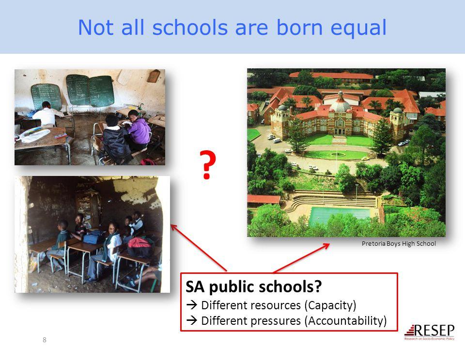 Not all schools are born equal 8 SA public schools?  Different resources (Capacity)  Different pressures (Accountability) ? Pretoria Boys High Schoo