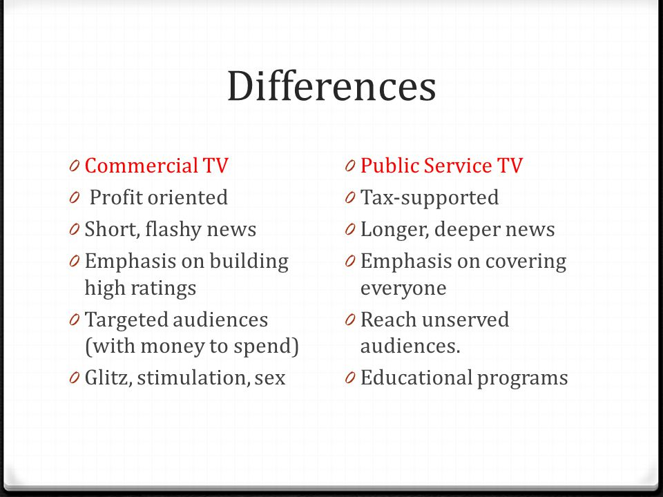 Differences 0 Commercial TV 0 Profit oriented 0 Short, flashy news 0 Emphasis on building high ratings 0 Targeted audiences (with money to spend) 0 Glitz, stimulation, sex 0 Public Service TV 0 Tax-supported 0 Longer, deeper news 0 Emphasis on covering everyone 0 Reach unserved audiences.