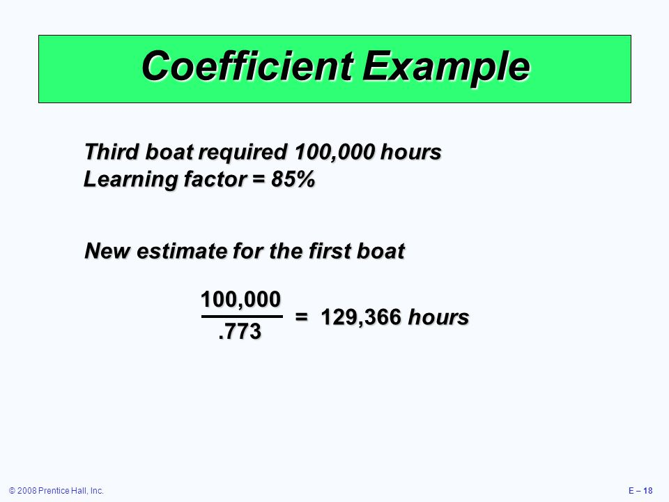 © 2008 Prentice Hall, Inc.E – 18 Coefficient Example Third boat required 100,000 hours Learning factor = 85% 100,000.773 = 129,366 hours New estimate for the first boat