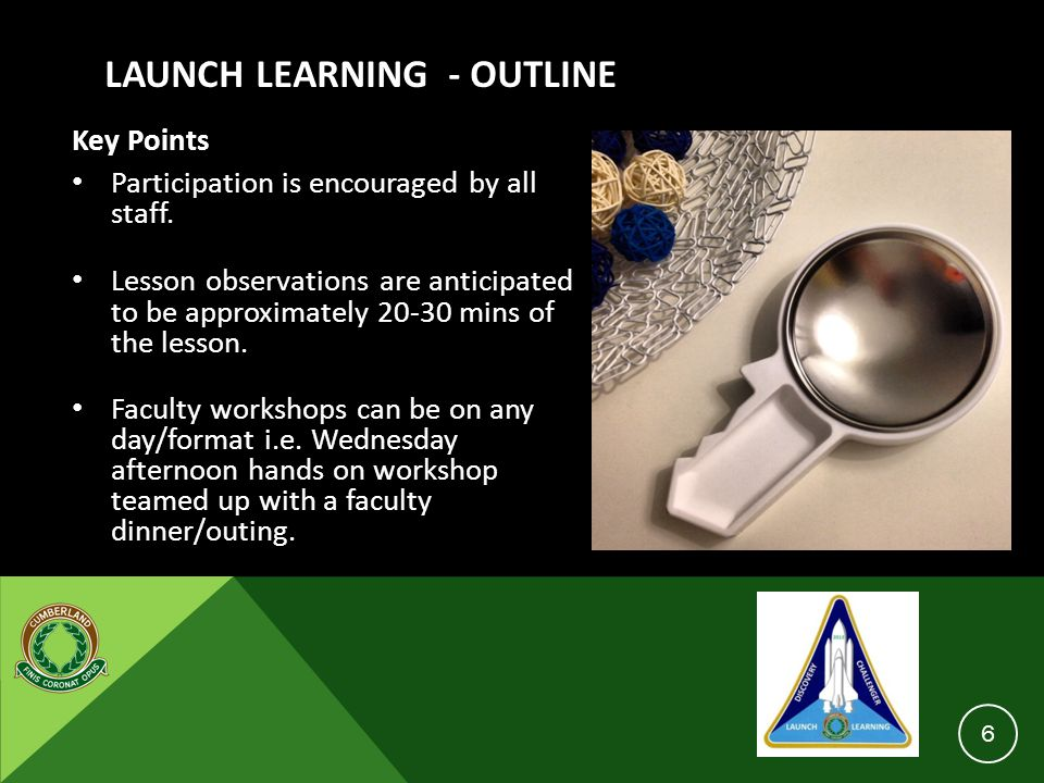 LAUNCH LEARNING - OUTLINE Key Points Participation is encouraged by all staff. Lesson observations are anticipated to be approximately 20-30 mins of t