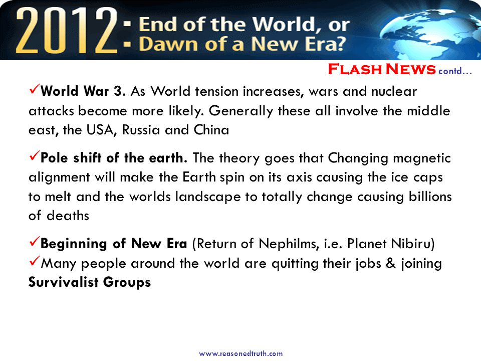 Flash News contd… World War 3.