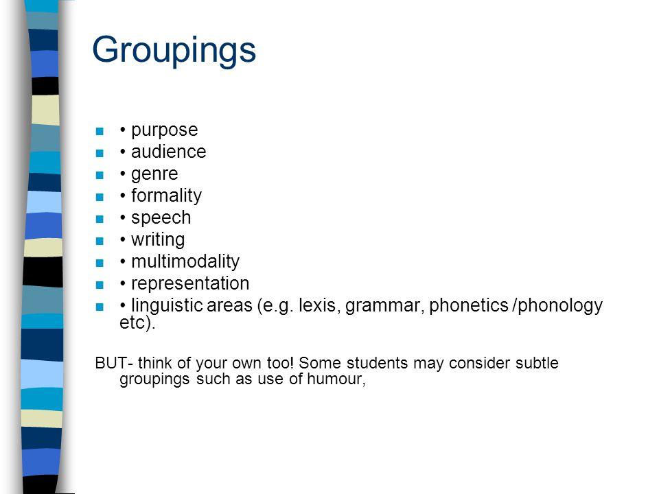Groupings n purpose n audience n genre n formality n speech n writing n multimodality n representation n linguistic areas (e.g. lexis, grammar, phonet