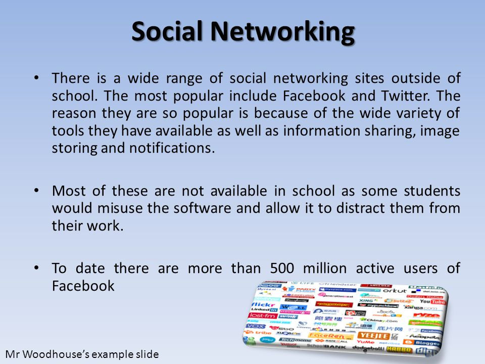 Social Networking There is a wide range of social networking sites outside of school.