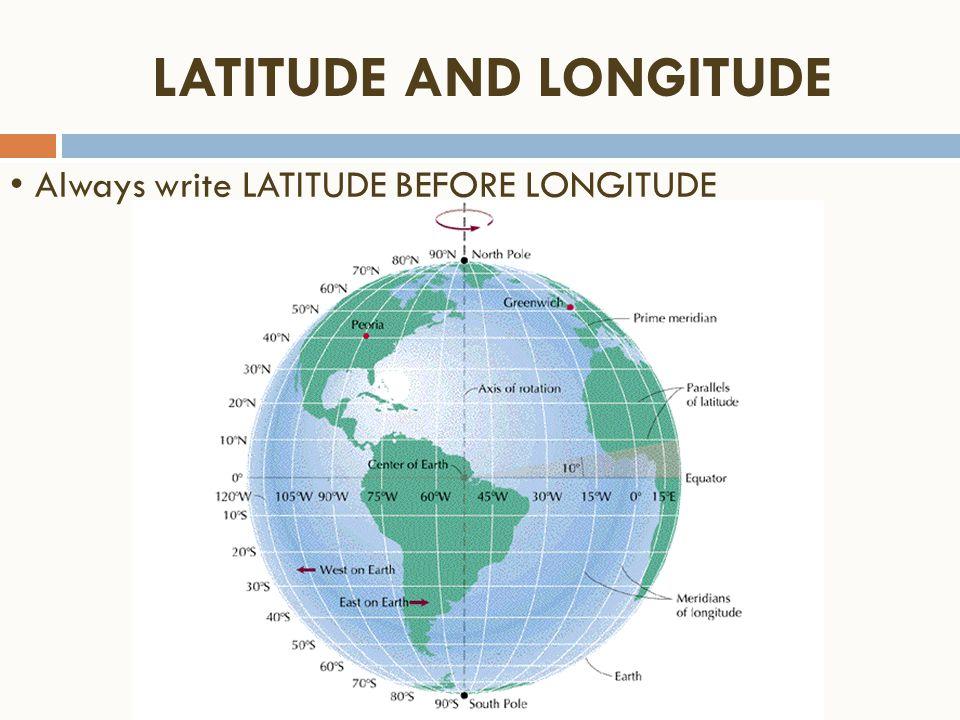 LATITUDE AND LONGITUDE Always write LATITUDE BEFORE LONGITUDE