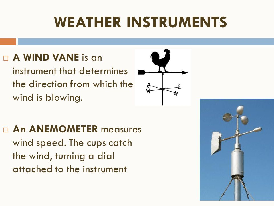  A WIND VANE is an instrument that determines the direction from which the wind is blowing.  An ANEMOMETER measures wind speed. The cups catch the w