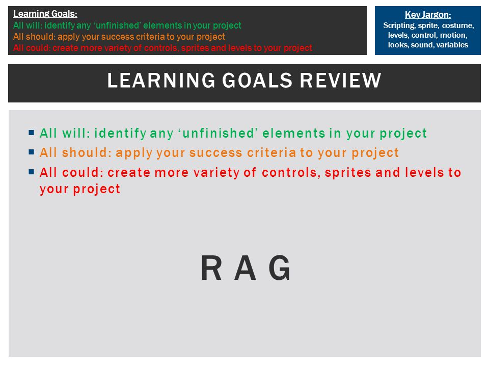 Key Jargon: Scripting, sprite, costume, levels, control, motion, looks, sound, variables Learning Goals: All will: identify any 'unfinished' elements in your project All should: apply your success criteria to your project All could: create more variety of controls, sprites and levels to your project  All will: identify any 'unfinished' elements in your project  All should: apply your success criteria to your project  All could: create more variety of controls, sprites and levels to your project R A G LEARNING GOALS REVIEW
