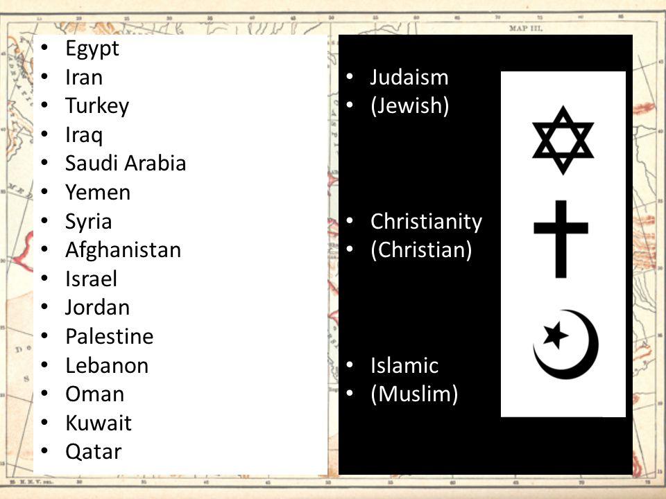 Egypt Iran Turkey Iraq Saudi Arabia Yemen Syria Afghanistan Israel Jordan Palestine Lebanon Oman Kuwait Qatar Judaism (Jewish) Christianity (Christian) Islamic (Muslim)