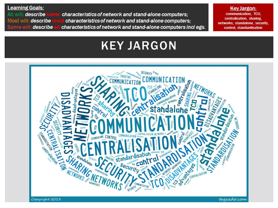 Key Jargon: communication, TCO, centralisation, sharing, networks, standalone, security, control, standardisation Learning Goals: All will: describe some characteristics of network and stand-alone computers; Most will: describe most characteristics of network and stand-alone computers; Some will: describe all characteristics of network and stand-alone computers incl egs.