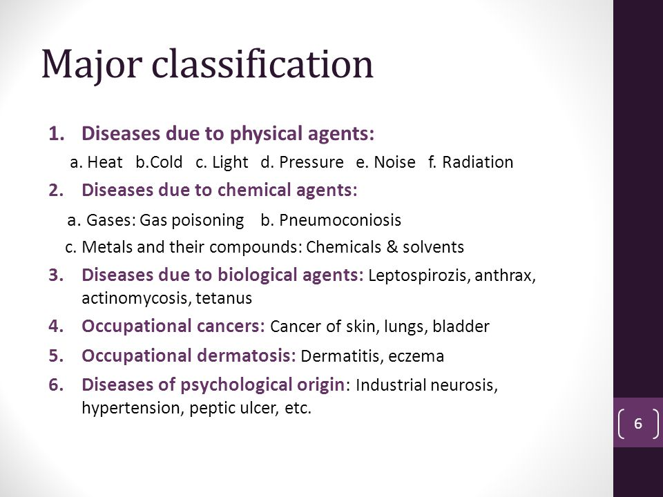 Major classification 1.Diseases due to physical agents: a.