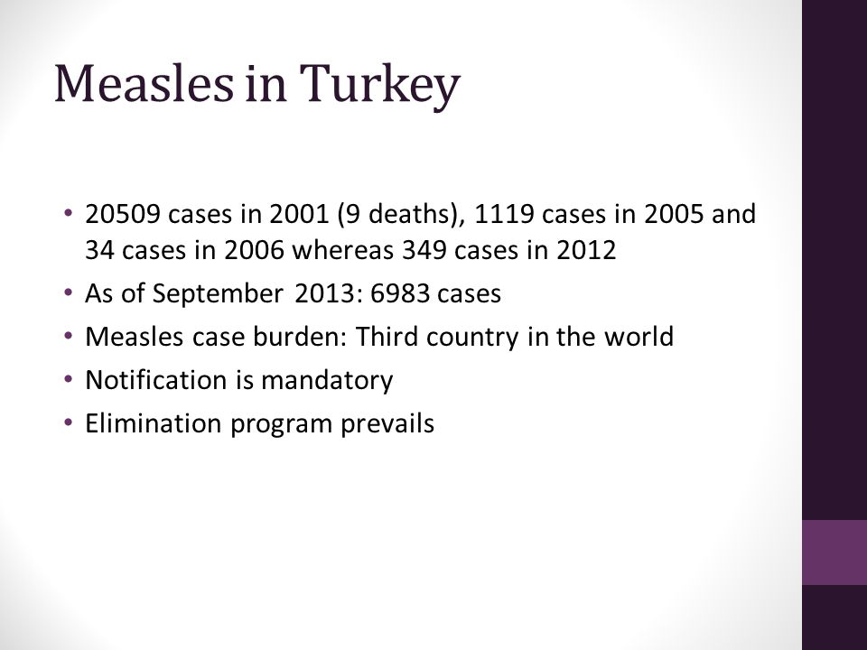 Measles in Turkey 20509 cases in 2001 (9 deaths), 1119 cases in 2005 and 34 cases in 2006 whereas 349 cases in 2012 As of September 2013: 6983 cases M