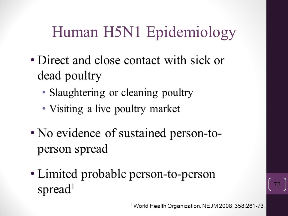 Direct and close contact with sick or dead poultry Slaughtering or cleaning poultry Visiting a live poultry market No evidence of sustained person-to-