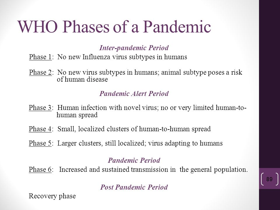 WHO Phases of a Pandemic Inter-pandemic Period Phase 1: No new Influenza virus subtypes in humans Phase 2: No new virus subtypes in humans; animal sub