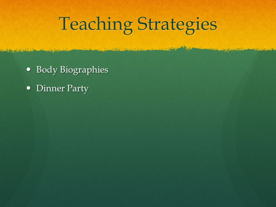 Teaching Strategies Body Biographies Body Biographies Dinner Party Dinner Party