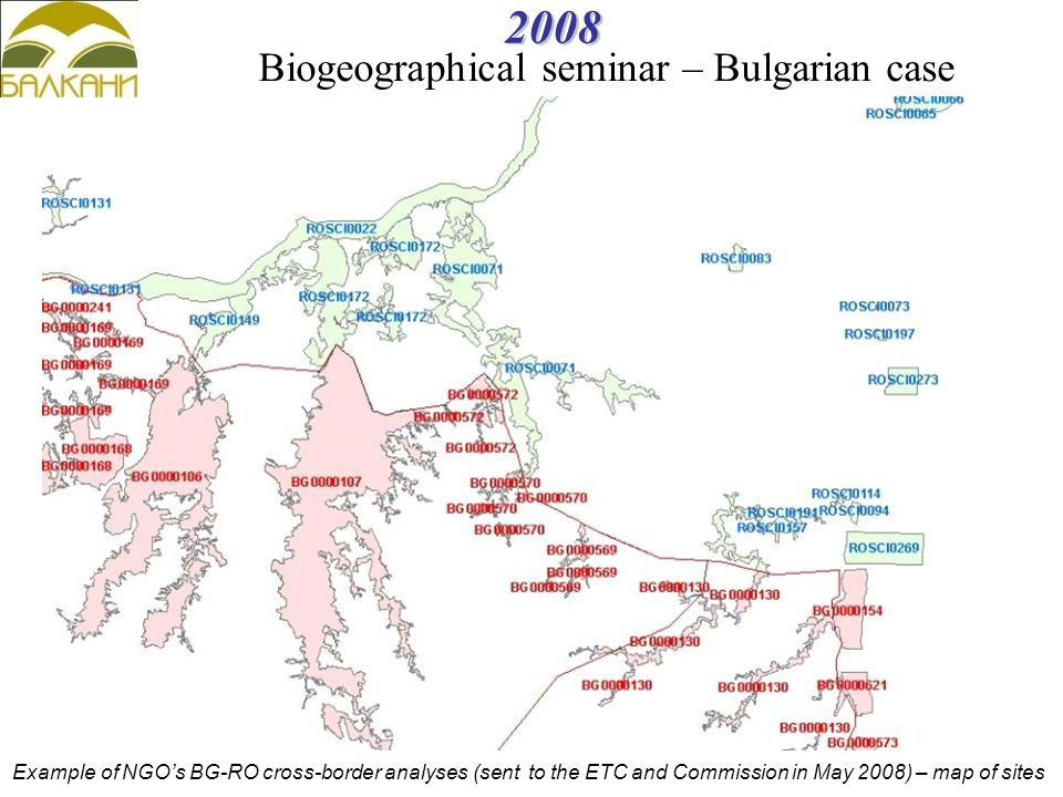 2008 Example of NGO's BG-RO cross-border analyses (sent to the ETC and Commission in May 2008) – map of sites