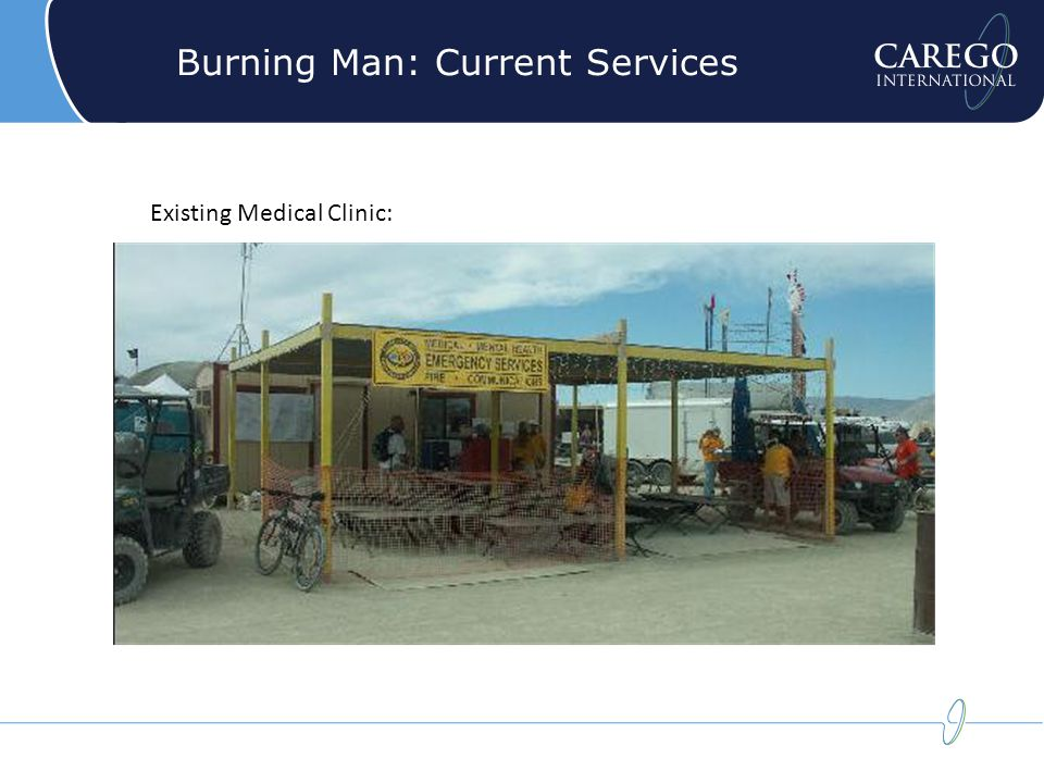 Burning Man: Current Services Existing Medical Clinic: