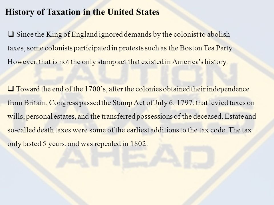 History of Taxation in the United States Income Taxes in America  The first income tax was created in 1861 during the Civil War as a mechanism to finance the war effort.