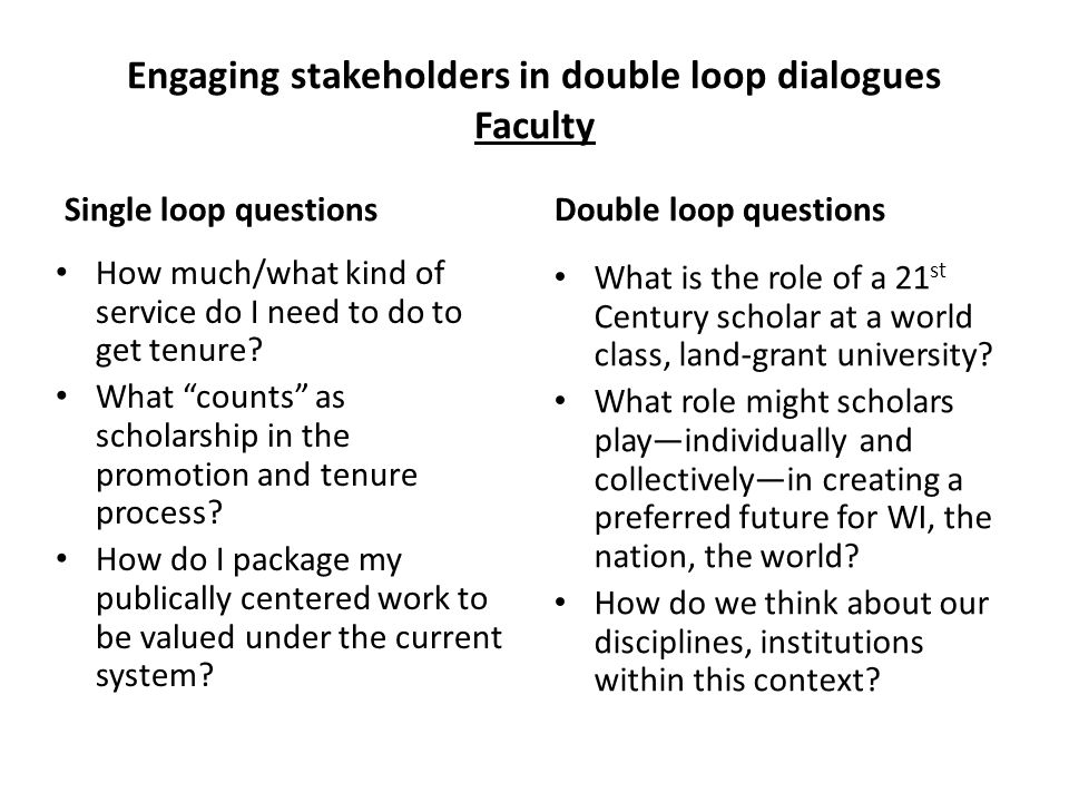 Engaging stakeholders in double loop dialogues Faculty Single loop questions How much/what kind of service do I need to do to get tenure.