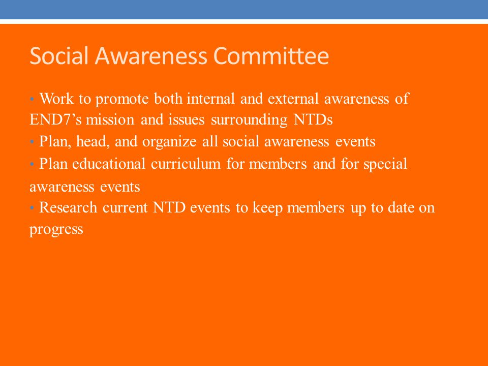 Social Awareness Committee Work to promote both internal and external awareness of END7's mission and issues surrounding NTDs Plan, head, and organize