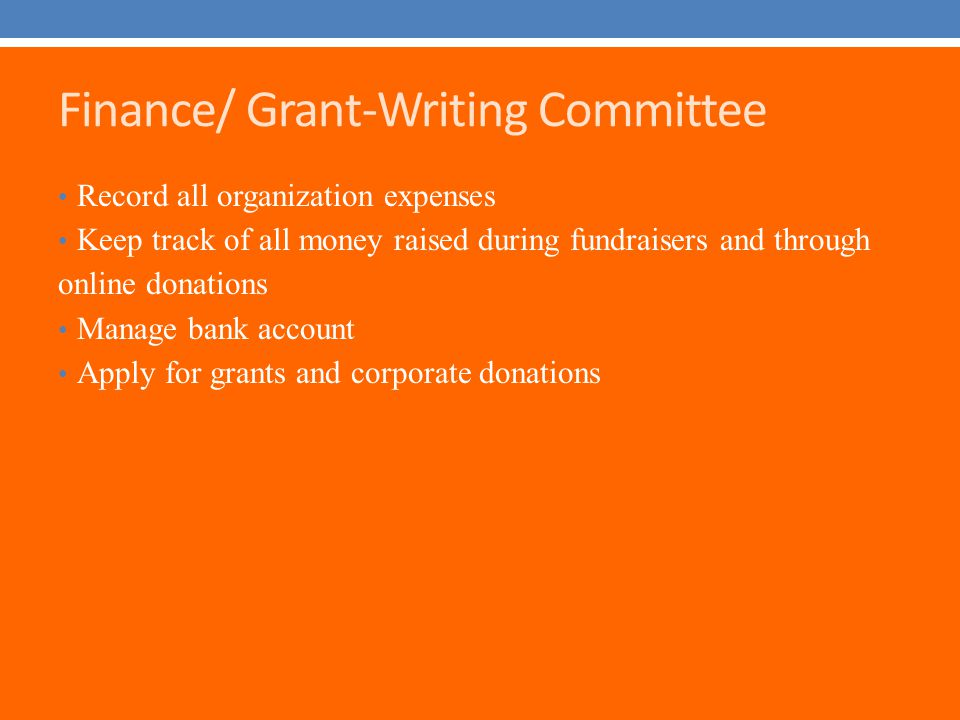 Finance/ Grant-Writing Committee Record all organization expenses Keep track of all money raised during fundraisers and through online donations Manage bank account Apply for grants and corporate donations