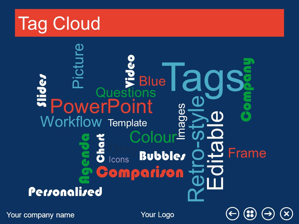 Your company name Your Logo Tag Cloud Tags PowerPoint Questions Images Comparison Picture Company Video Chart Retro-style Editable Workflow Template Slides Agenda Icons Colour Personalised Bubbles Blue Grey Frame