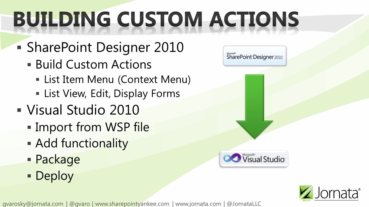  SharePoint Designer 2010  Build Custom Actions  List Item Menu (Context Menu)  List View, Edit, Display Forms  Visual Studio 2010  Import from WSP file  Add functionality  Package  Deploy