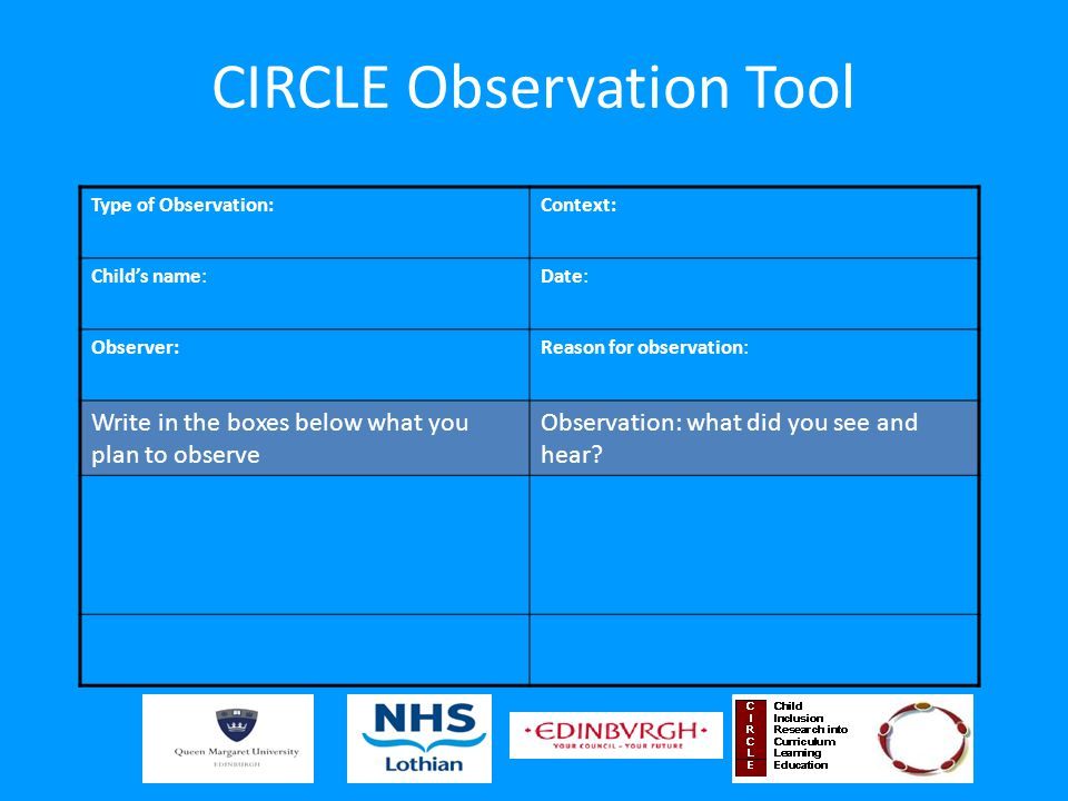 CIRCLE Observation Tool Type of Observation:Context: Child's name:Date: Observer:Reason for observation: Write in the boxes below what you plan to observe Observation: what did you see and hear?