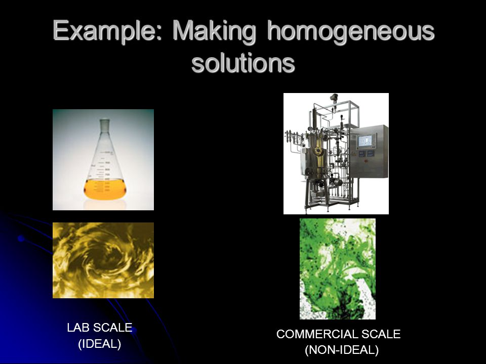 Example: Making homogeneous solutions LAB SCALE COMMERCIAL SCALE (IDEAL) (NON-IDEAL)