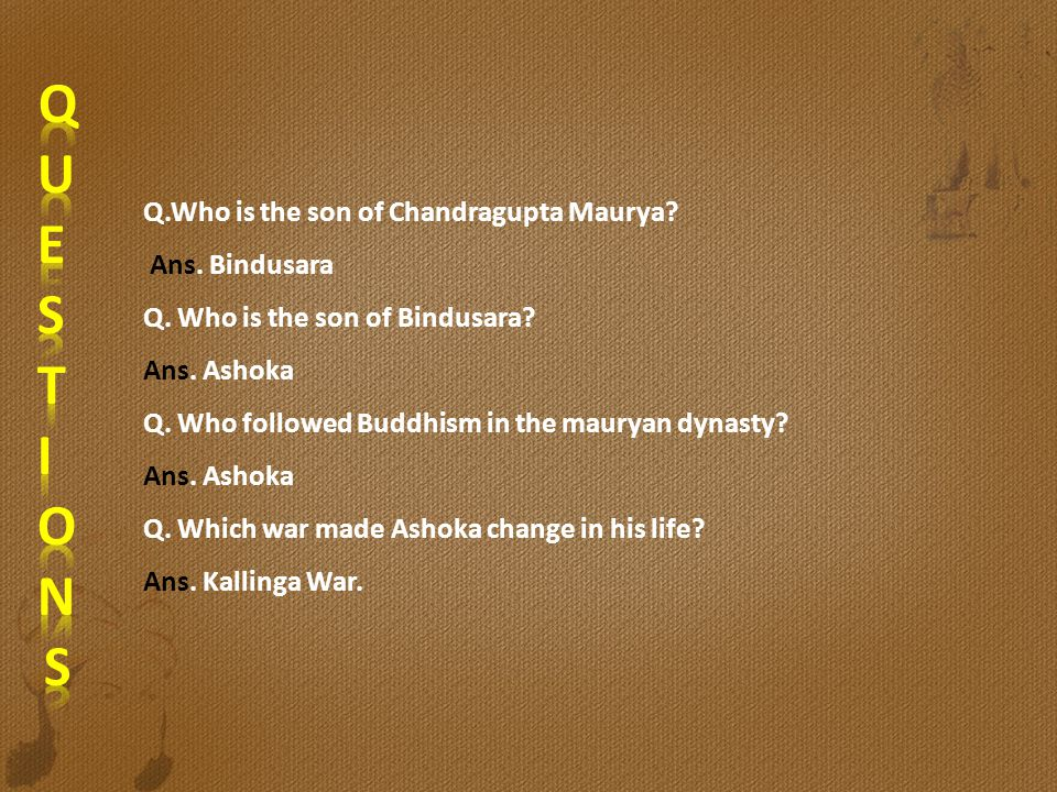 Q.Who is the son of Chandragupta Maurya? Ans. Bindusara Q. Who is the son of Bindusara? Ans. Ashoka Q. Who followed Buddhism in the mauryan dynasty? A